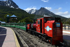 The southernmost railway in the world on the edge of the Earth. USHUAIA, ARGENTINA - NOVEMBER 17,2014:The southernmost railway in the world on the edge of the Stock Photo