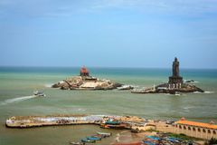 Southernmost tip of peninsular India, Kanyakumari. The southernmost tip of peninsular India. Tourists waiting in queue for the ferry to visit Vivekananda Rock Stock Photo