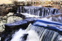 Southford Fall State Park in Oxford Connecticut. The tops of the waterfall at Southford Falls State Park in Oxford Connecticut in springtime royalty free stock photography
