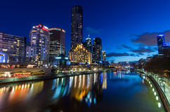 Southgate complex by the Yarra River in Melbourne at dusk Stock Images