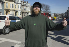 Southie gives thumbs up, St. Patrick's Day Parade, 2014, South Boston, Massachusetts, USA Stock Photos