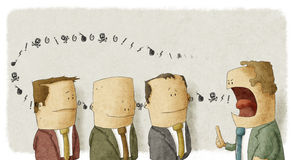 Southing empolyees för ilsket framstickande Stock Illustrationer
