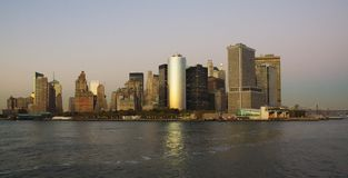 Southmost point of Manhattan, from the river Royalty Free Stock Photos