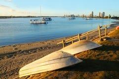 Southport Broadwater am Sonnenaufgang lizenzfreies stockfoto