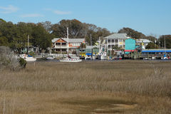 Southport, North Carolina. View over marshland of the Southport, North Carolina marina stock images