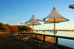Southport Shade Sails. The Broadwater Gold Coast Australia seen through shade sails at Southport at dawn stock photo