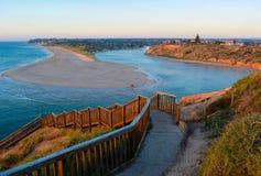 Southport-Strand-Schritte, bei Sonnenuntergang Lizenzfreies Stockbild