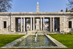 Southport war memorial. War memorial gardens with obelisk in background and pond in foreground, Southport, Merseyside, England royalty free stock photos