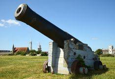 Southsea Hampshire Eine viktorianische Kanone lizenzfreies stockbild