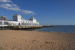Southsea Pier, England. Beach view of Southsea Pier and the English Channel, near Portsmouth, Hampshire, UK Stock Image