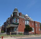 Southside Italianate. This is a Summer picture of a house in the Hyde Park neighborhood of Chicago, Illinois.  This house built in 1889 is an example of the Stock Photo