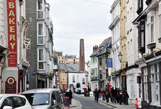 Southside Street view in Plymouth with historic buildings and restaurants, UK