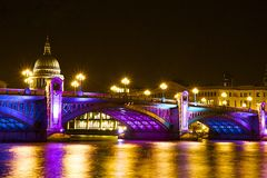 Southwark bridge at Christmas, London Royalty Free Stock Photos