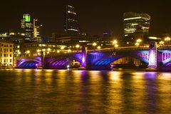 Southwark bridge at Christmas, London Stock Image