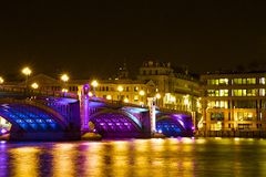 Southwark bridge at Christmas, London Stock Photography