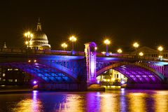Southwark bridge at Christmas, London Royalty Free Stock Image