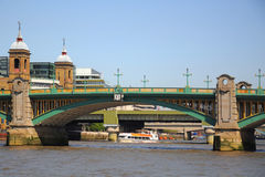 Southwark bridge in London City. View at the Southwark Bridge from Thames River, London, England, United Kingdom Stock Photography