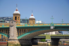 Southwark bridge in London City. View at the Southwark Bridge from Thames River, London, England, United Kingdom Royalty Free Stock Photography