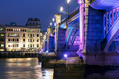 Southwark Bridge. London, illuminated at night Royalty Free Stock Image