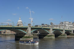 Southwark Bridge London with St Pauls Cathedral. Royalty Free Stock Photos