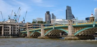 Southwark bridge and river Thames in London Royalty Free Stock Images