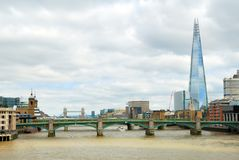 Southwark bridge with the Tower bridge and skyscraper Royalty Free Stock Photography