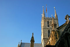 Southwark cathedral. Looking up at tower of Southwark cathedral, London Stock Photography