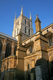 Southwark cathedral. Looking up at tower of Southwark cathedral, London Stock Photo