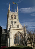 Southwark Cathedral. A view of Southwark Cathedral from Borough Market in London Stock Image