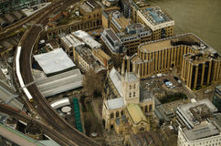 Southwark Cathedral from Above. Aerial view of Southwark Cathedral, London.  Hemmed in by the River Thames on one side and a railway line to the other Stock Photography