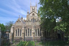 Southwark Cathedral In London. Southwark Cathedral or The Cathedral and Collegiate Church of St Saviour and St Mary Overie, Southwark, London, lies on the south stock images