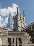 Southwark Cathedral and the Shard, London, UK Stock Photo