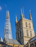 Southwark Cathedral and Shard Skyscraper Stock Photo