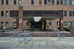 Southwark Crown Court London. Entrance to Southwark Crown Court in London England royalty free stock image
