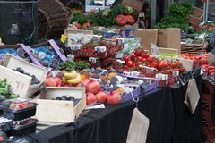 Stall with vegetables and fruits at  Borough Market Stock Image