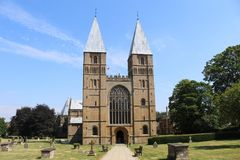 Southwell Minster in Nottinghamshire UK. A landscape view of Southwell Minster in Nottinghamshire UK stock photography