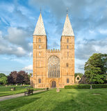 Southwell Minster at Sunset. A view of the front of Southwell Minster taken in evening sunlight Stock Image