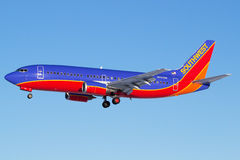 Southwest 737. Landing in Des Moines,Iowa Royalty Free Stock Images