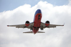 Southwest 737 Landing at LAX Royalty Free Stock Photography