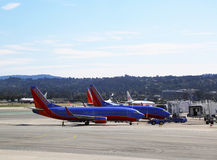 Southwest aircrafts ready to take off  at San Francisco airport Stock Photo