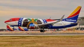 Southwest Airlines «Missouri Jeden «Boeing B737 przybycie wewnątrz dla lądowania zdjęcia royalty free