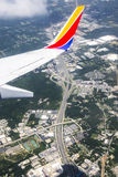 Southwest Airlines Airplane wing overlooking freeway Stock Photography