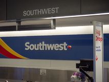 Southwest Airlines baggage check kiosk at San Francisco Internat royalty free stock image