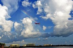 A Southwest Airlines Boeing 737 is approaching Tampa International Airport stock photo