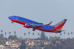 Southwest Airlines Boeing 737-7BD N7732A som avgår San Diego International Airport Royaltyfria Bilder