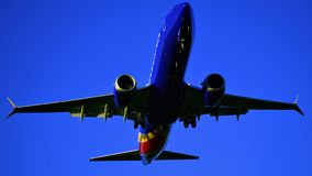 Southwest Airlines Boeing 737 coming in for a landing. royalty free stock images