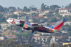 Southwest Airlines Boeing 737-7H4 N918WN known as `Illinois One` departing San Diego International Airport. Royalty Free Stock Images