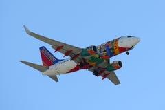 Southwest Airlines Boeing 737 på den Boston flygplatsen Arkivfoto