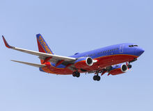 Southwest Airlines. Los Angeles, USA - June 6, 2014: An airplane of Sothwest Airlines landing at Los Angeles International Airport Royalty Free Stock Photography