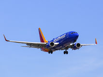 Southwest Airlines. Los Angeles, USA - May 30, 2015: An airplane of Sothwest Airlines landing at Los Angeles International Airport Stock Photos